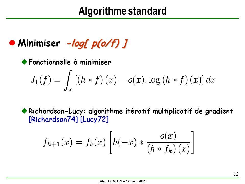 Algorithme standard Minimiser -log[ p(o/f) ] Fonctionnelle à minimiser
